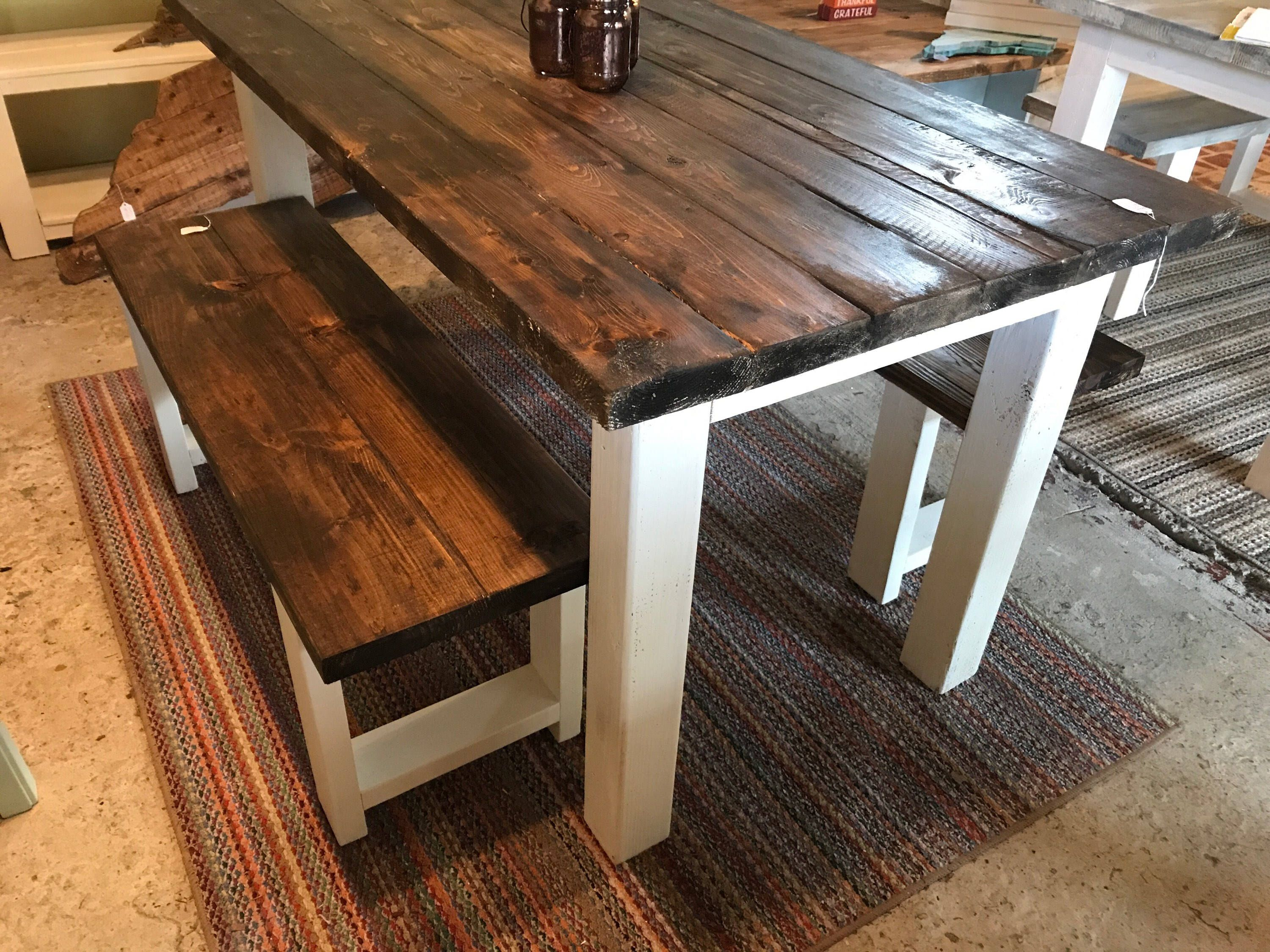 Small Farmhouse Table Rustic Farmhouse Table With Benches