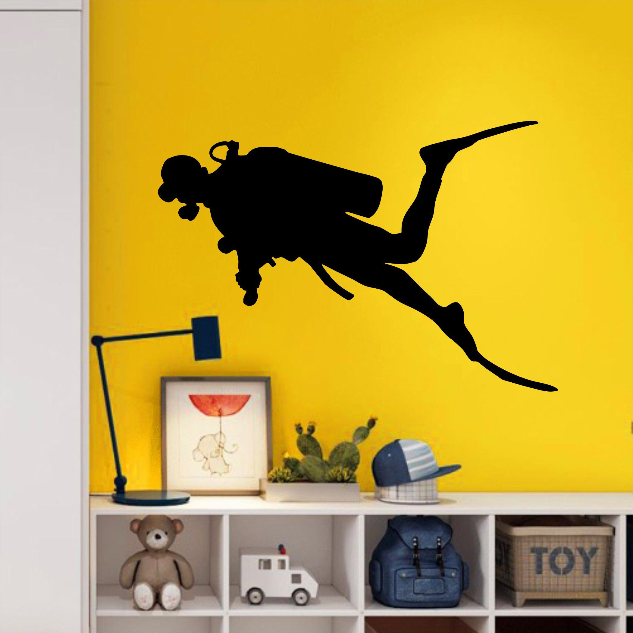 SCUBA Diver Wall Decal - LARGE Wall Art - Kids Room Bedroom Decal ...