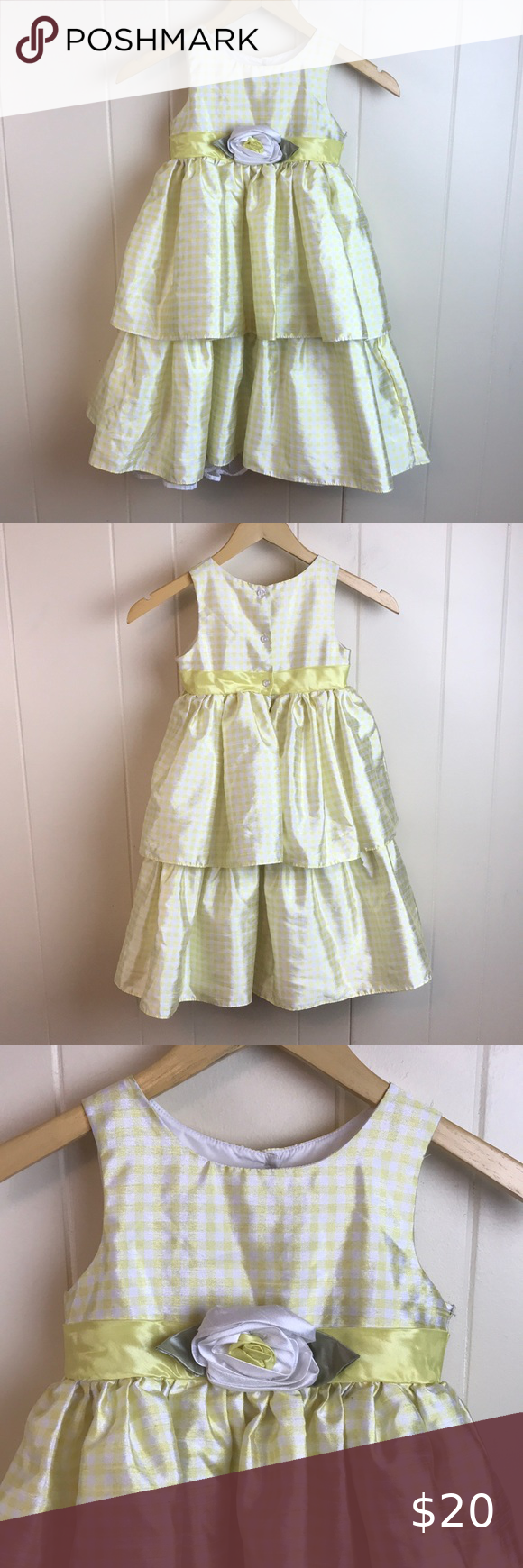Cherokee Girls Tiered Checkered Party Dress Little Girl Dresses Girls Tulle Dress Party Dress [ 1740 x 580 Pixel ]