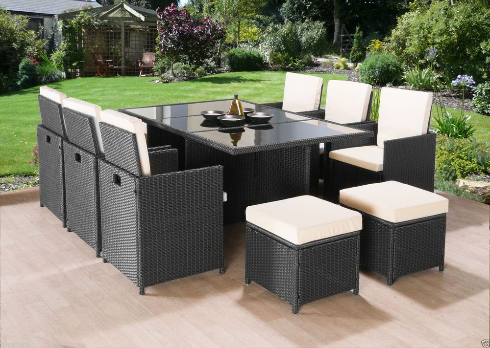 Cube Rattan Garden Furniture Set Glass Table Chairs Stools Cushions 10 x Seats