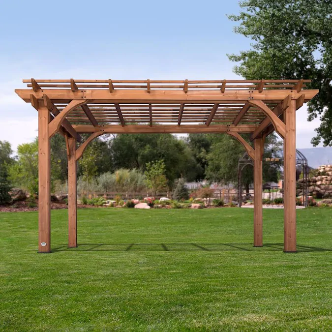 Backyard Discovery 10 X 14 Pergola 10 Ft W X 14 Ft L X 7 Ft 10 3 4 In Brown Wood Freestanding Pergola Lowes Com In 2020 Backyard Pergola Vinyl Pergola Wood Pergola