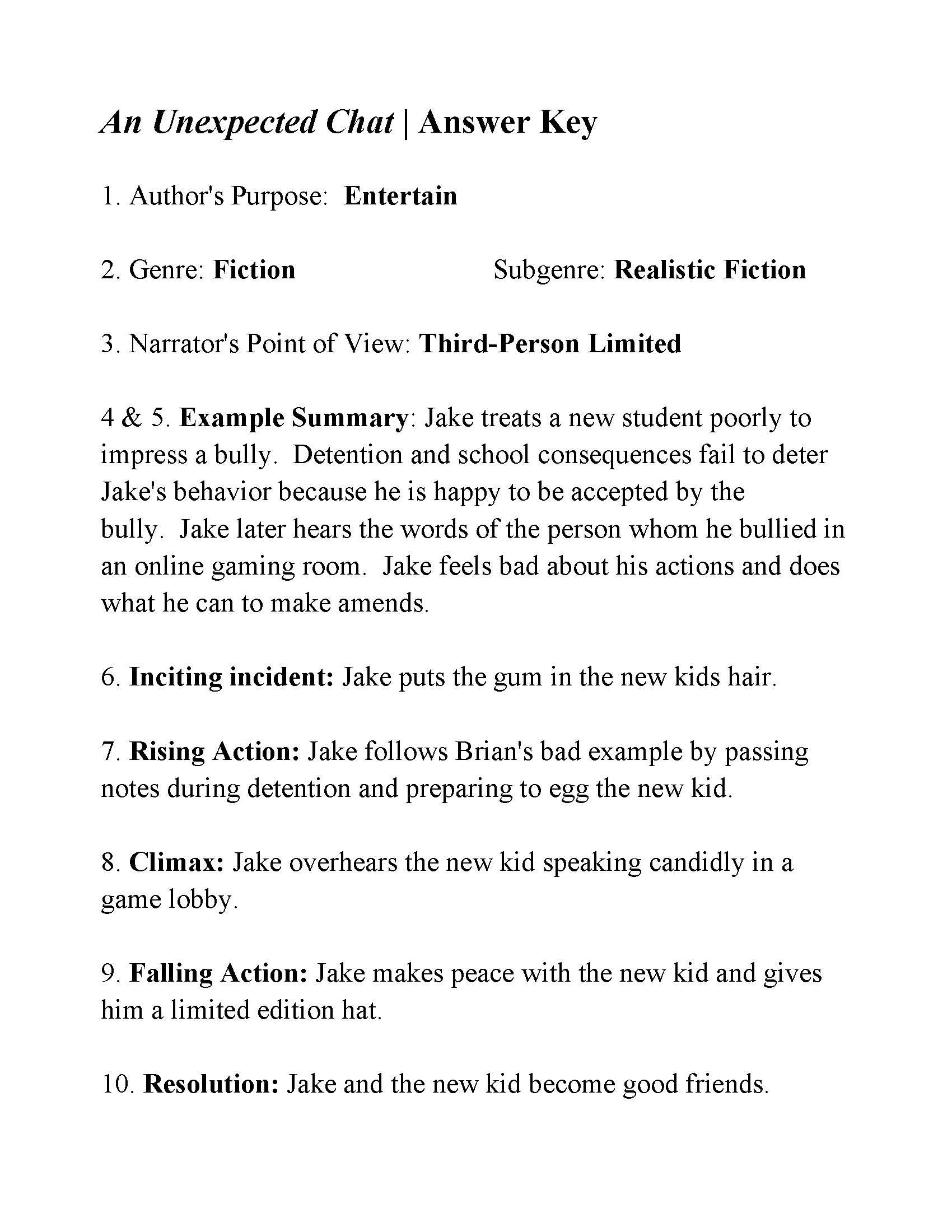 This Is The Answer Key For The An Unexpected Chat Life Hacks For School Reading Worksheets Authors Purpose