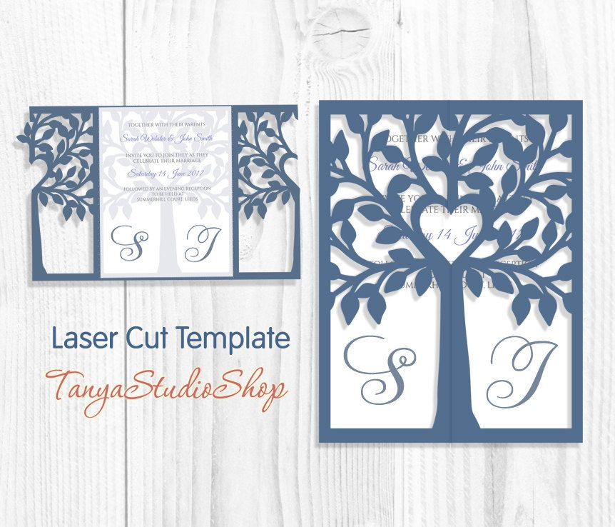 Wedding invitation - SVG, DXF, ai, CRD, eps, png - Commercial - Tree ...