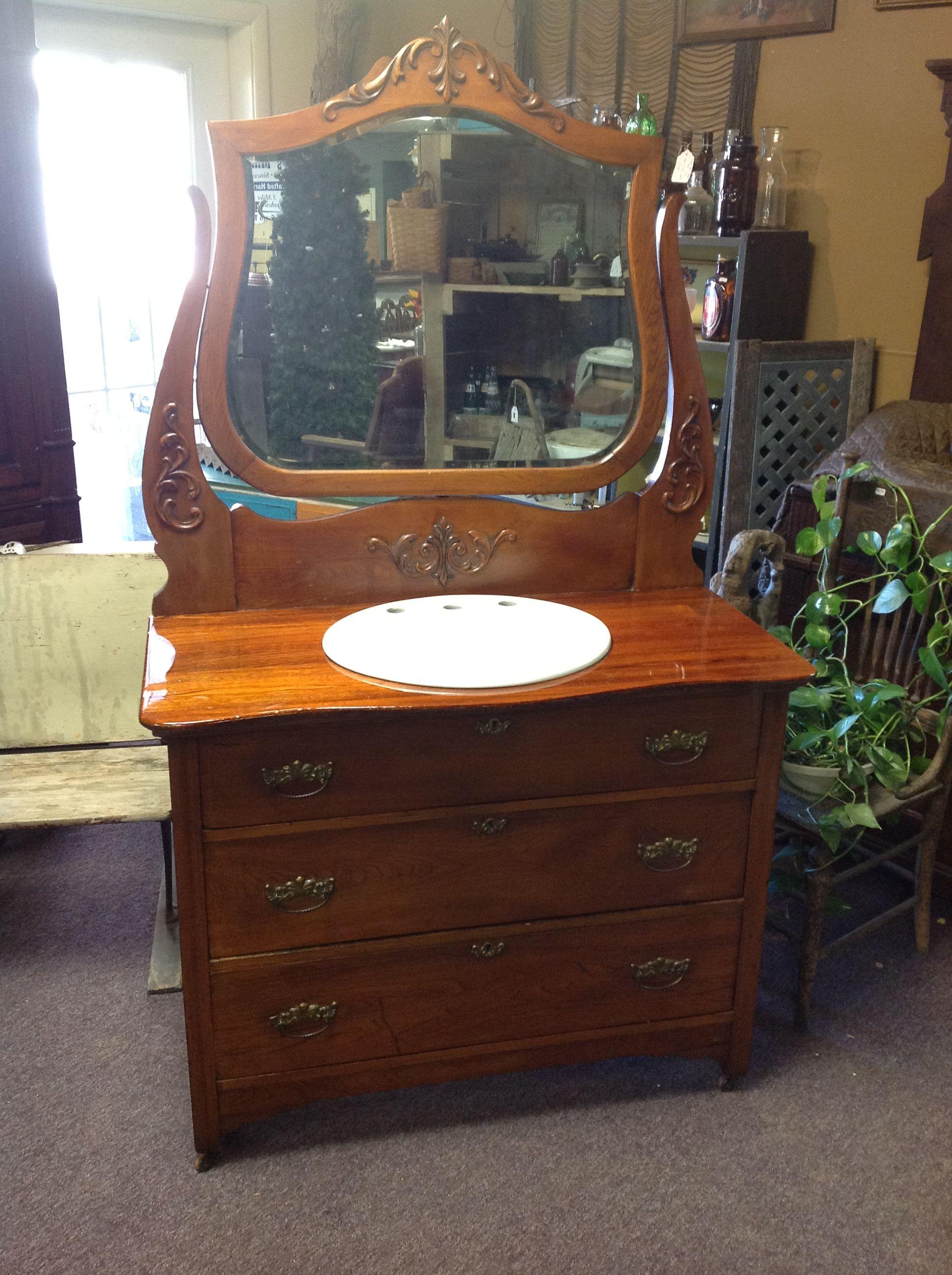 Old Antique Dresser Repurposed Into A Bathroom Sink Vanity