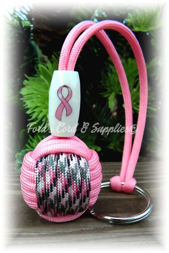 Breast Cancer Awareness Paracord Monkey Fist Keychain