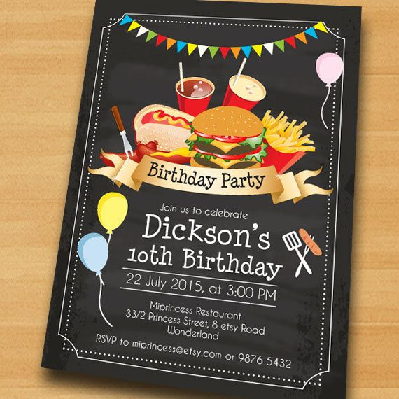 BBQ Birthday Invitation, Chalkboard Burger, Kids Barbecue birthday - bbq flyer