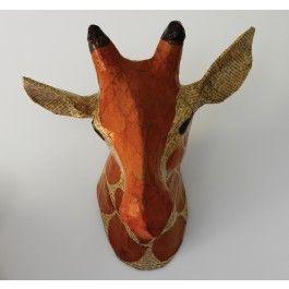 60€ teste di giraffa fatte di cartapesta dipinta a mano, GIRAFFE NATURAL PAPIER-MÂCHÉ HEAD