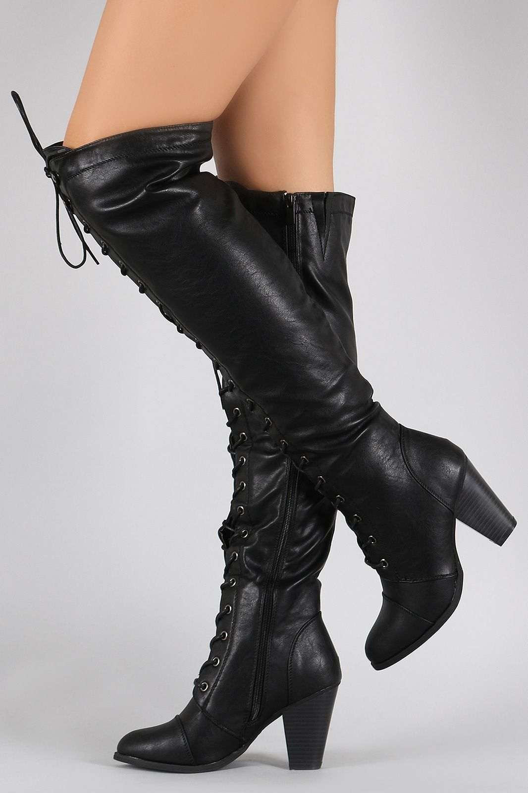 Almond Toe Lace Up Stacked Heeled Over