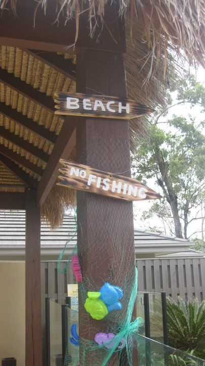 Rustic Beach Pool Party Signage Decorations