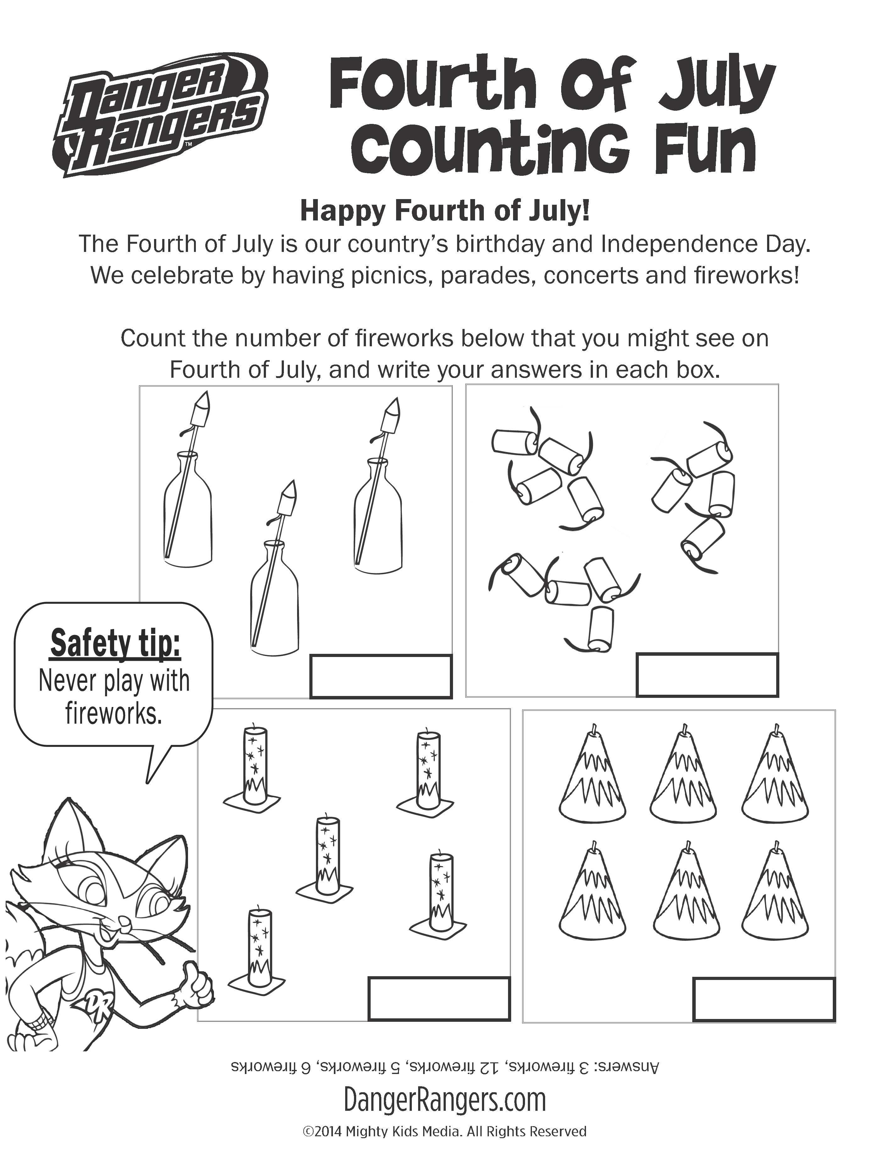 Fourth of July counting worksheet! fireworks safety