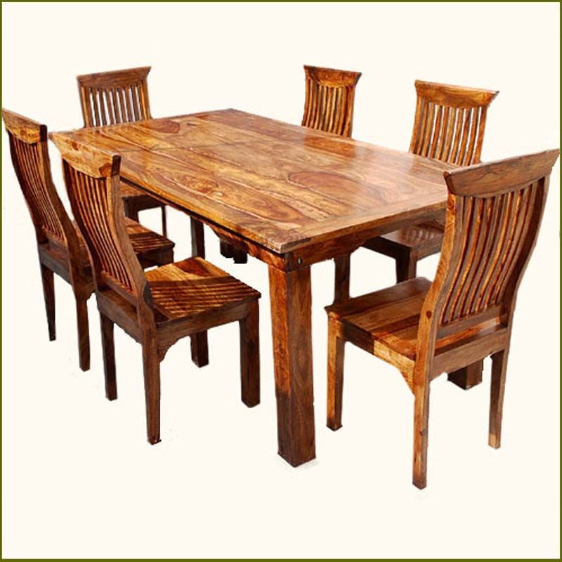 Rustic Solid Wood Dining Table Chair Set Furniture Celebrate The