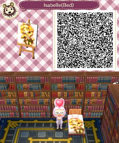 Isabelle Bedsheets Animal Crossing New Leaf Qr Code Based On A Design Found Within A Dream Town With The Dream Address Code Qr Animal Crossing Astuce Animaux