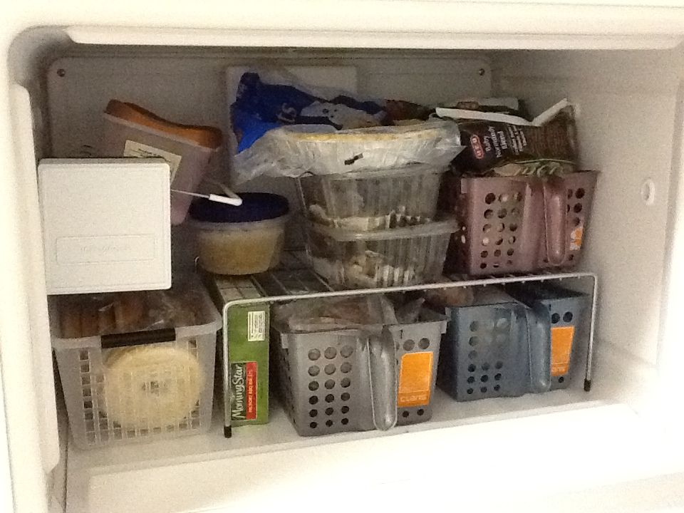 freezer wire shelf helper from lowes and 4 baskets from the 99 cents