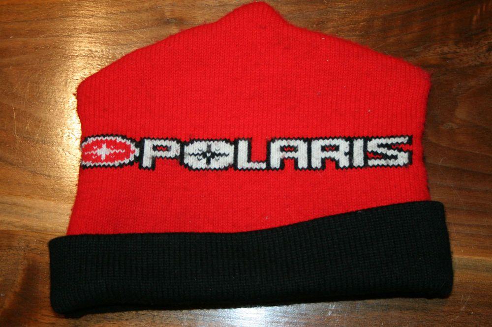 Vintage Polaris Winter Knit Rooftop Hat snowmobile cap racing snow ski red  black 4f2667c875f