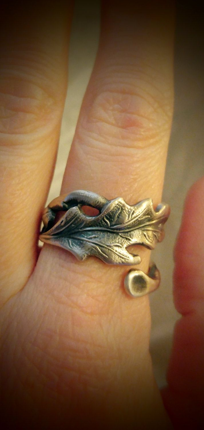 Oak Leaf Ring, Sterling Silver Spoon Ring, Fall Leaves, Autumn Leaves, Fall…
