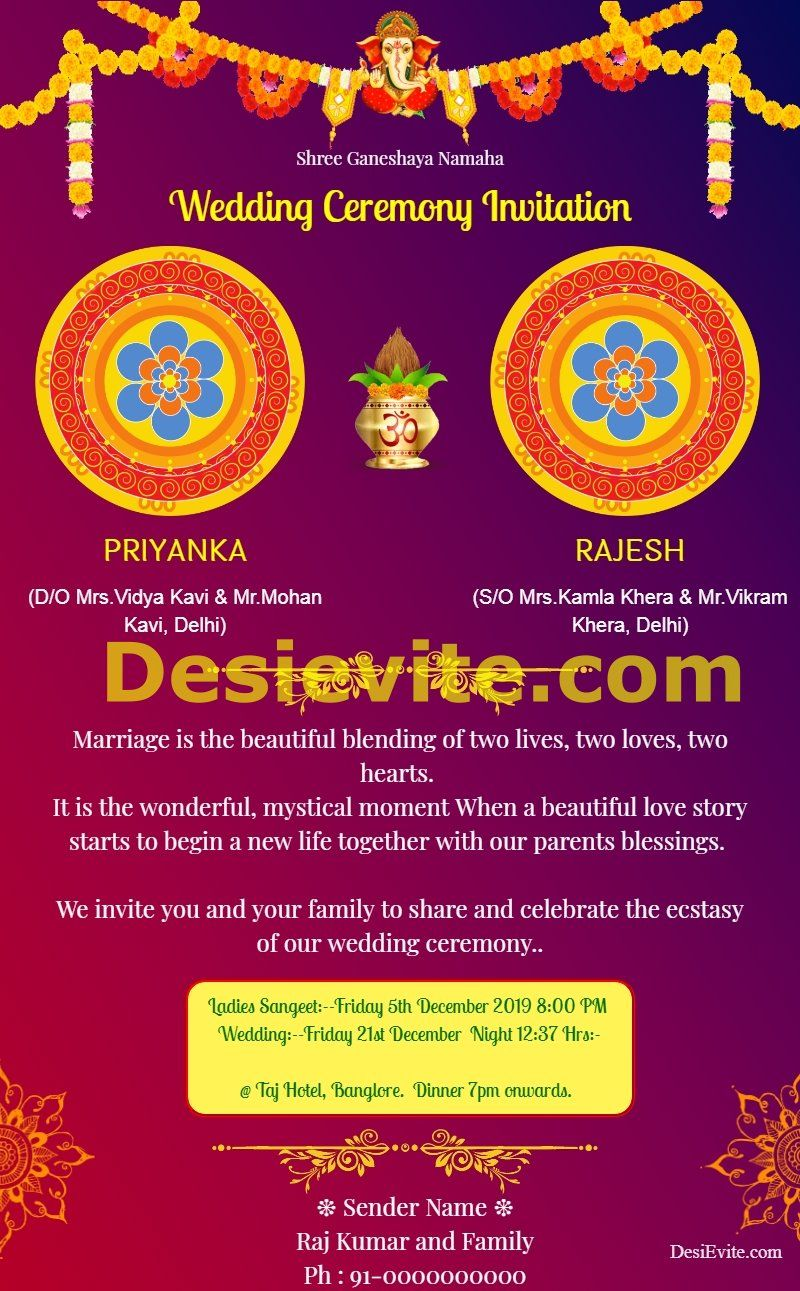 Wedding Ceremony Invitation Card For Whtsapp Indian