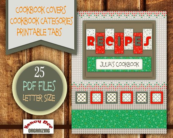 Printable Cookbook Templates - Filable Blank Categories / Tabs