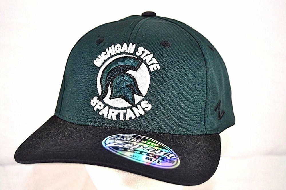 finest selection 08cc0 f1623 Michigan State Spartans Black Green Baseball Cap Stretch Fit M L  Zephyr   BaseballCap