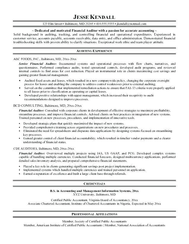 Resume Auditor Resume For Auditor Sample Resume Sample Auditor