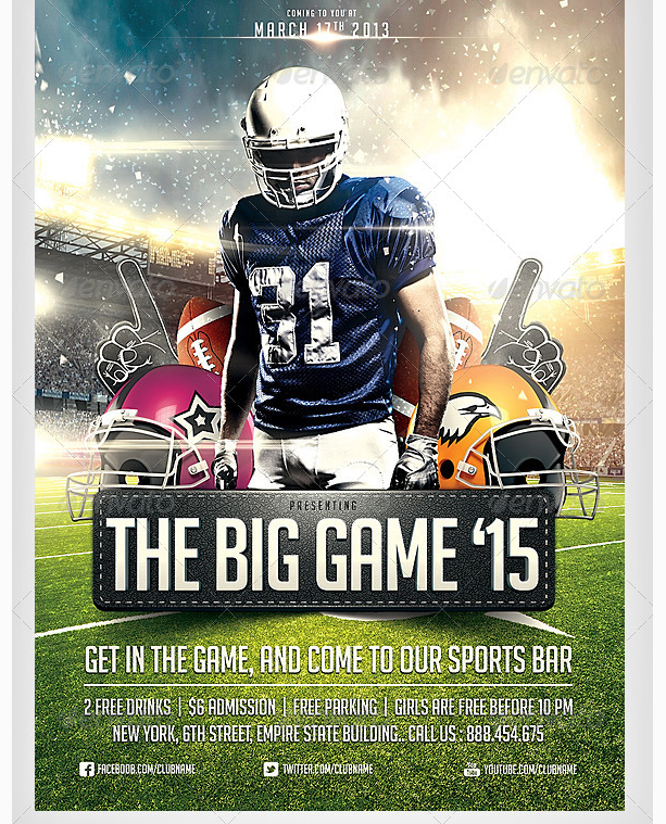 Big Game Football Flyer Template Party Flyer Templates For Clubs