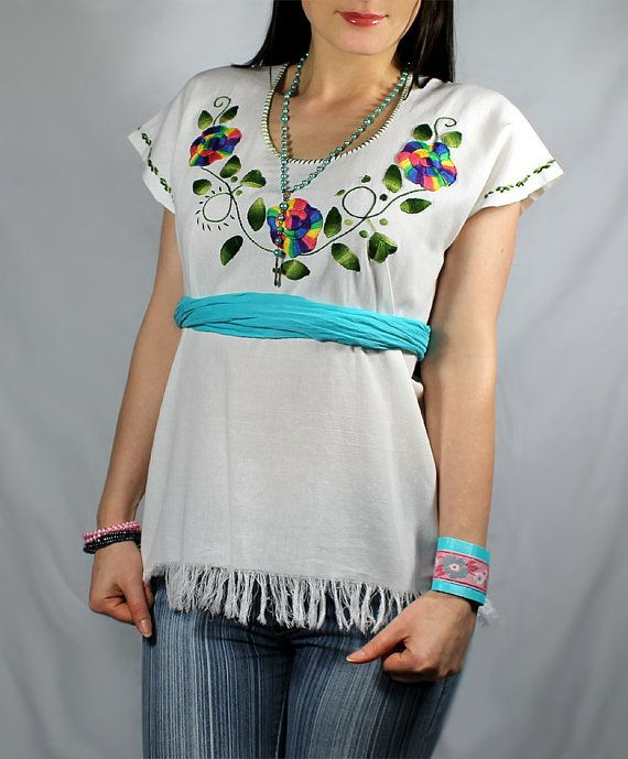 Mexican blouse Hand embroidered tunic Oaxaca Huipil Bohemian Ethnic ...