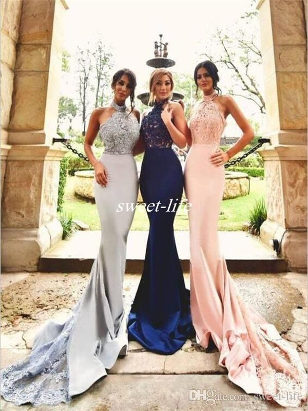 2017 New Design Silver Blush Lace Bridesmaid Dresses Halter Backless Mermaid Long Navy Blue Formal Wedding