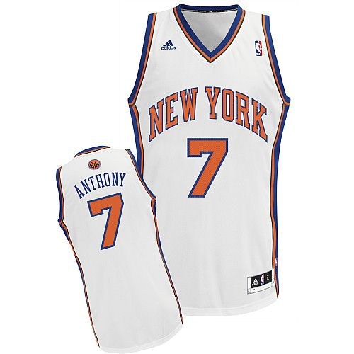 6bf67353d97 Adidas NBA New York Knicks 7 Carmelo Anthony New Revolution 30 Swingman  Home White Jersey