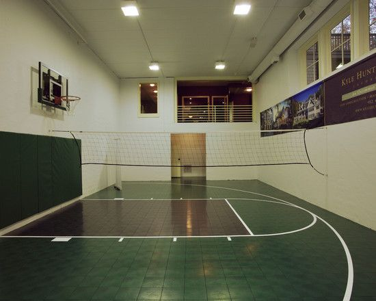 Sensational House Design Ideas For The Rich Family Fascinating Indoor Sport Court With Basket