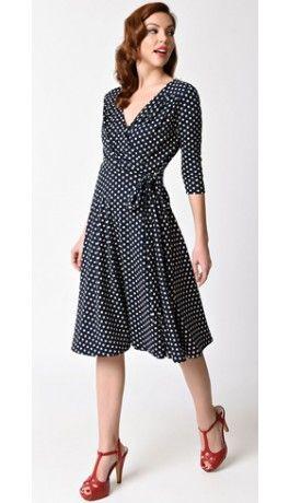 580f2e26e8 Unique Vintage 1940s Style Navy Blue & Ivory Dotted Kelsie Wrap Dress