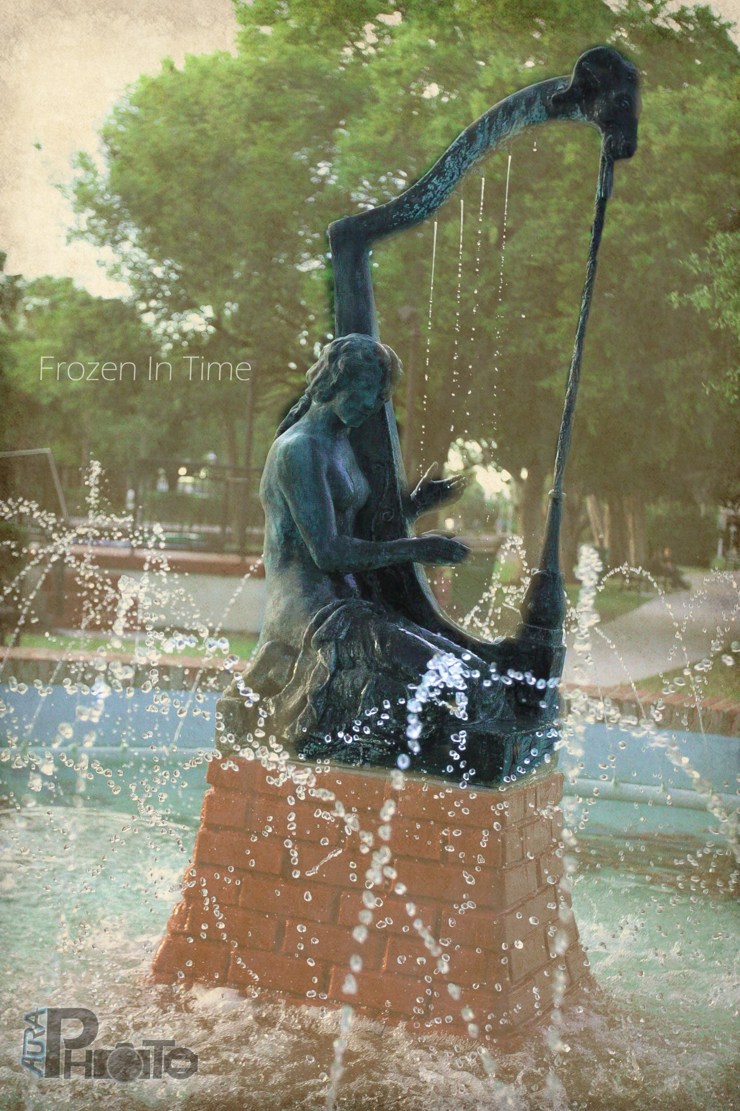 Stunning fountains with water harp. Beautiful photo!