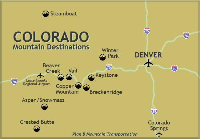 Denver Ski Resorts Map on