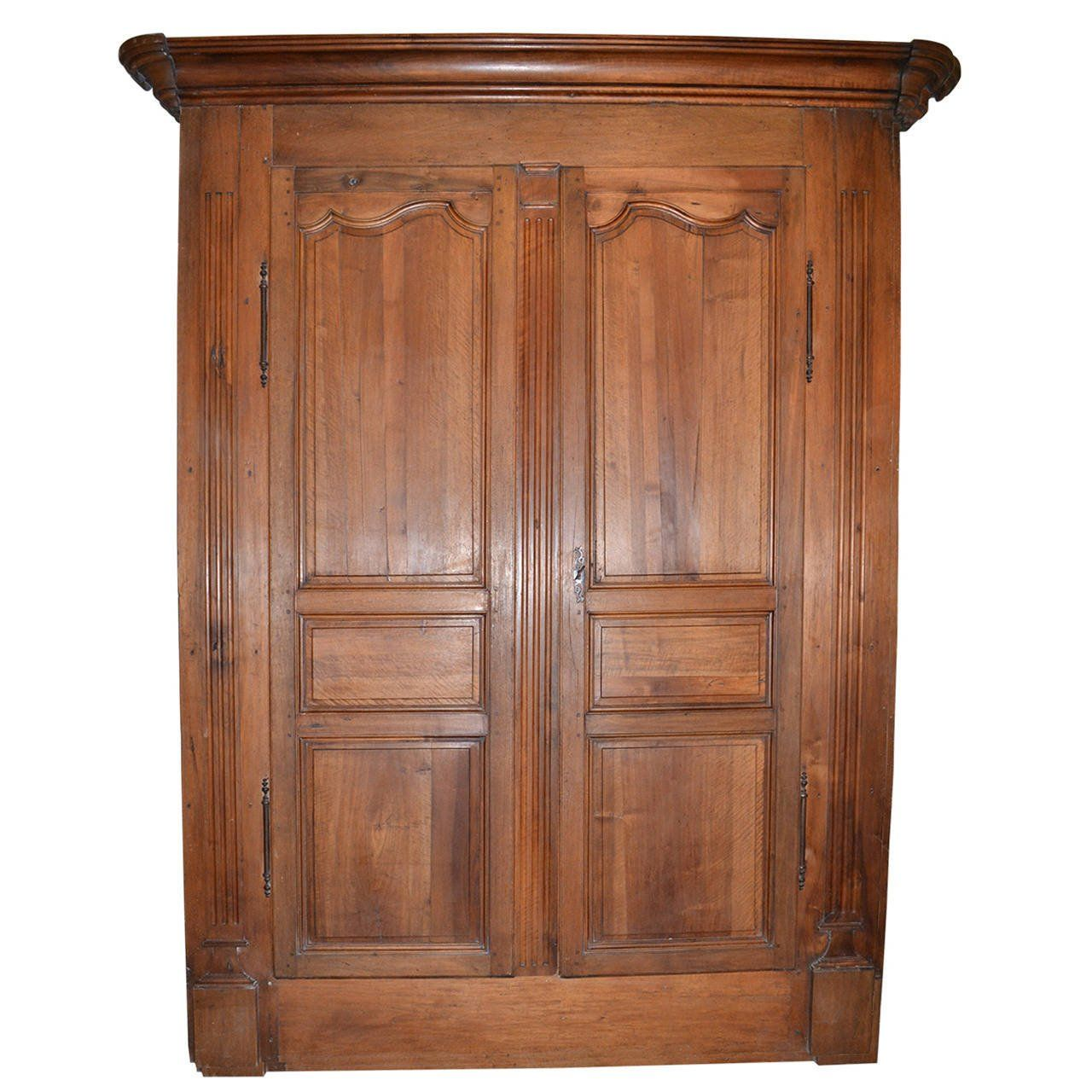 Antique Walnut French Armoire Doors with Original Frame, Crown ...