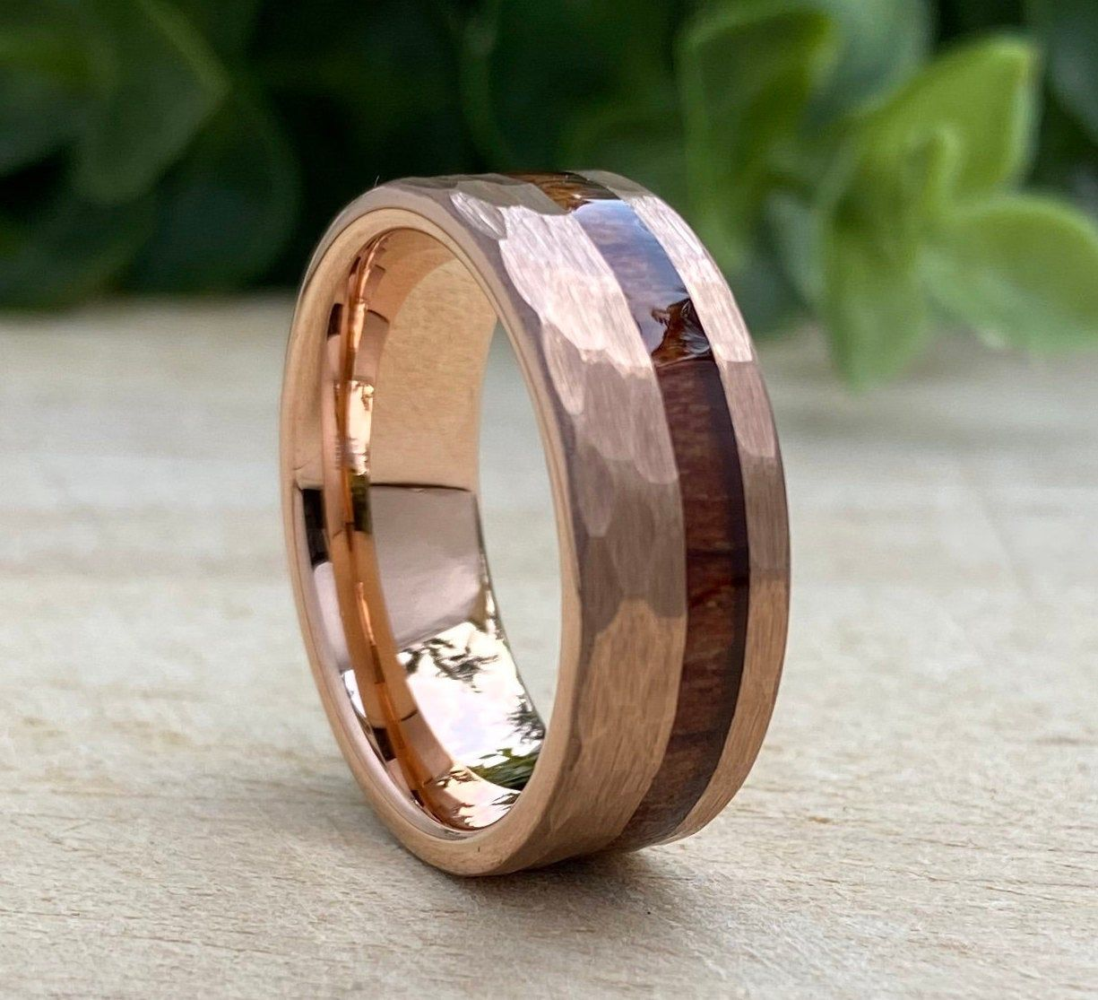 Rose Gold Hammered Tungsten Ring Wood Inlay Mens Wedding Band Etsy Mens Wedding Bands Hammered Tungsten Ring Rose Gold Tungsten Ring