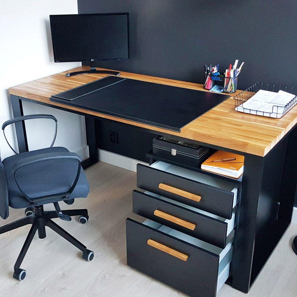 "Biurko narożne z drewnianym blatem ""corner desk"" – Deerhorn meble ..."
