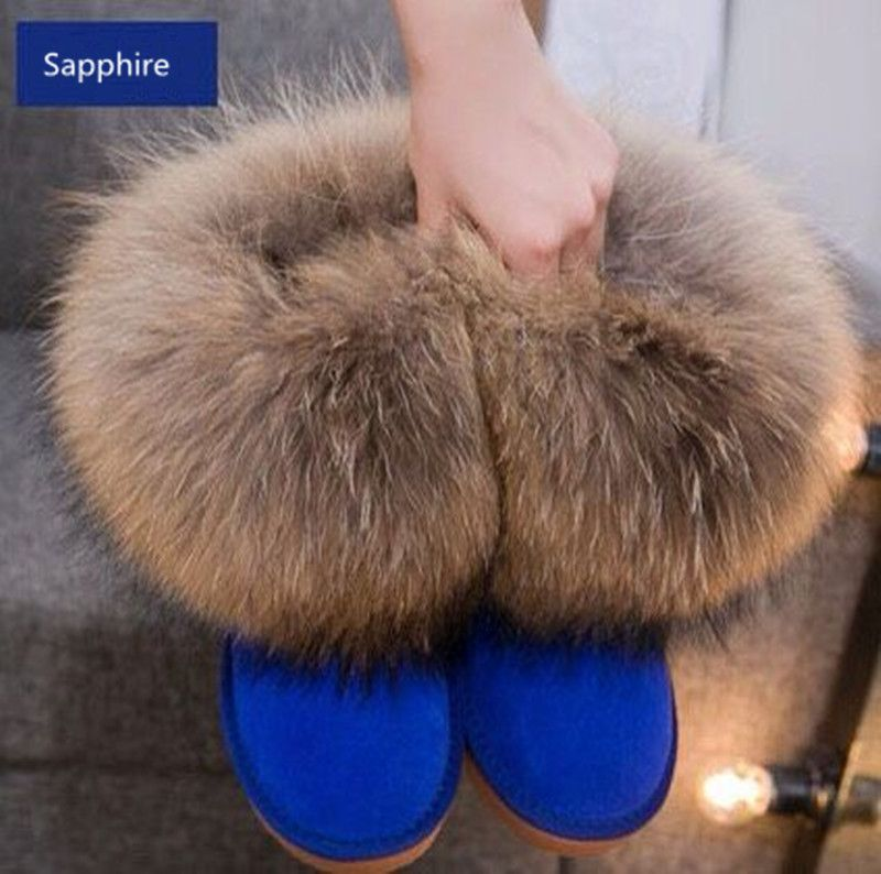 Winter Natural Real Big Fox Fur Gneuine Leather Recoon Fur Snow Boots Women  Low Short Tube Ankle Boots Female Sapphire Fur Boots-in Women s Boots from  Shoes ... d2b8d65731