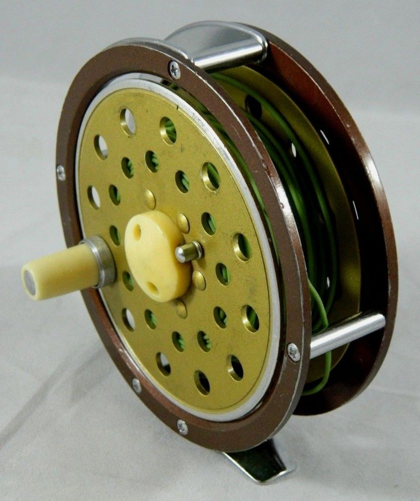 Vintage Brown/Gold Single-Action Fly Fishing Reel Made in Japan #Unknown