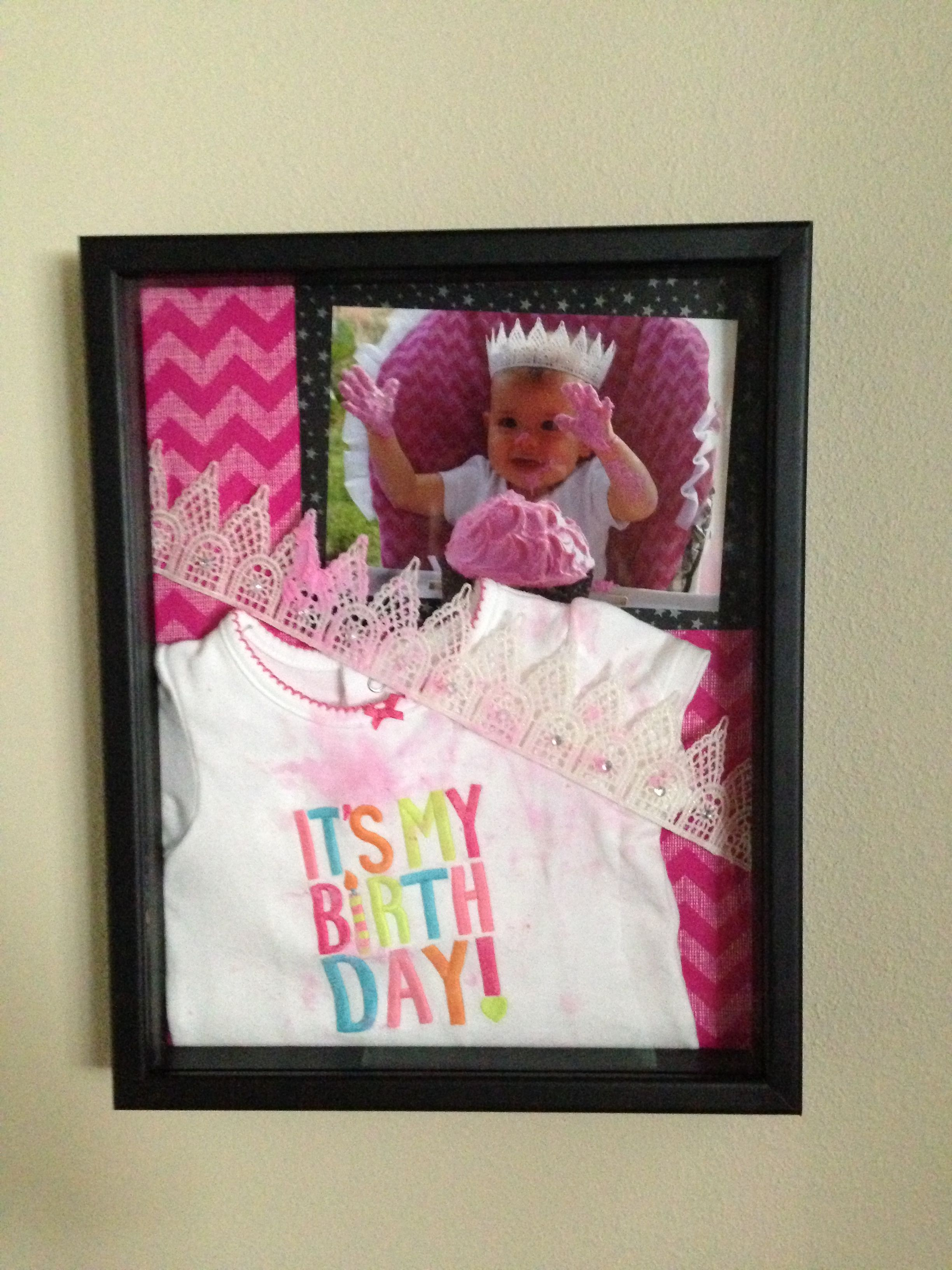 Shadow Box Of First Birthday Keepsakes Presents Baby 1st
