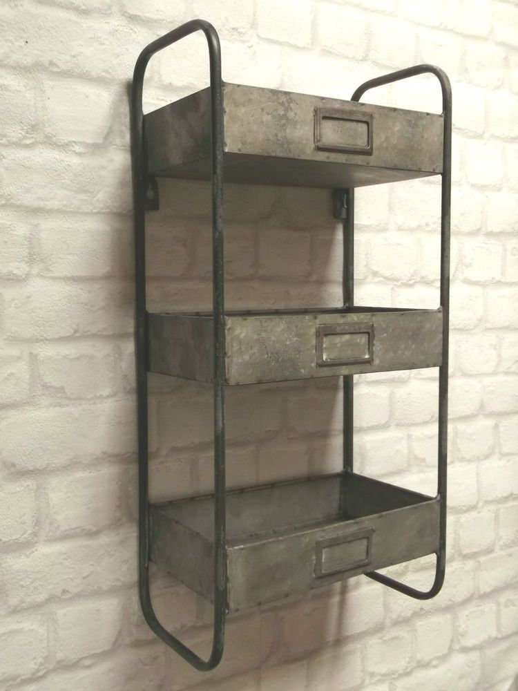 vintage industrial style metal wall shelf unit storage cupboard cabinet rack new