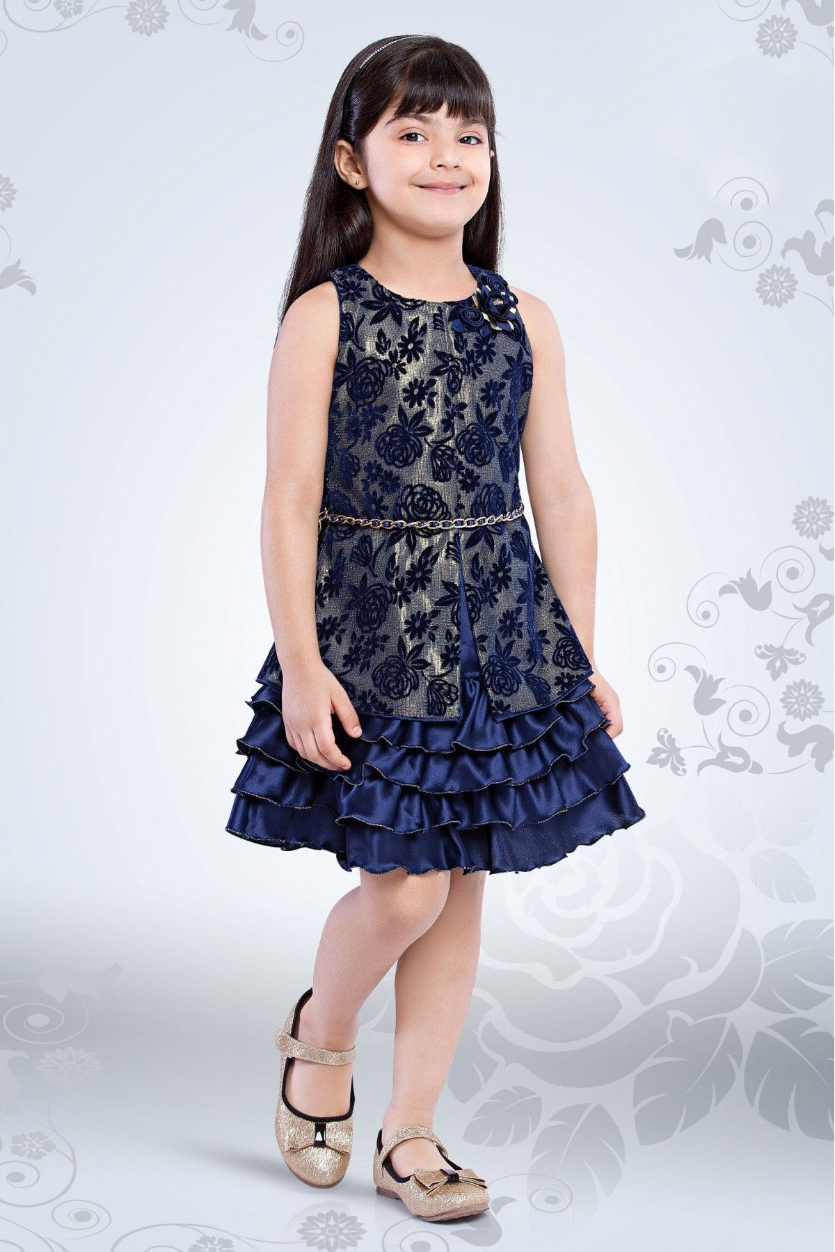 08364d255 Net And Polyester Party Wear Frocks In Blue Colour