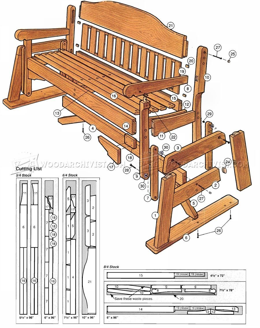 Free Wood Bench Glider Plans Quick Woodworking Projects