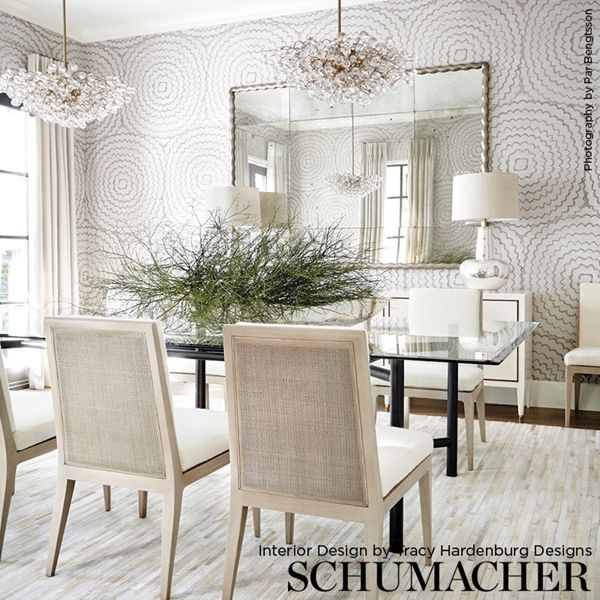 Schumacher Feather Bloom Dining room wallpaper, Dining