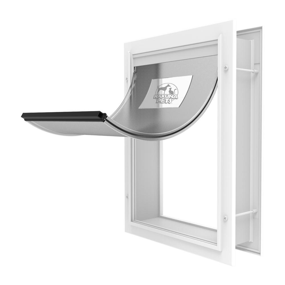 Hakuna Pets 11 4 In X 16 1 In Large Deluxe Aluminum Pet Door Adjustable Tunnel White 1169 Pet Door Sliding Glass Door Glass Door