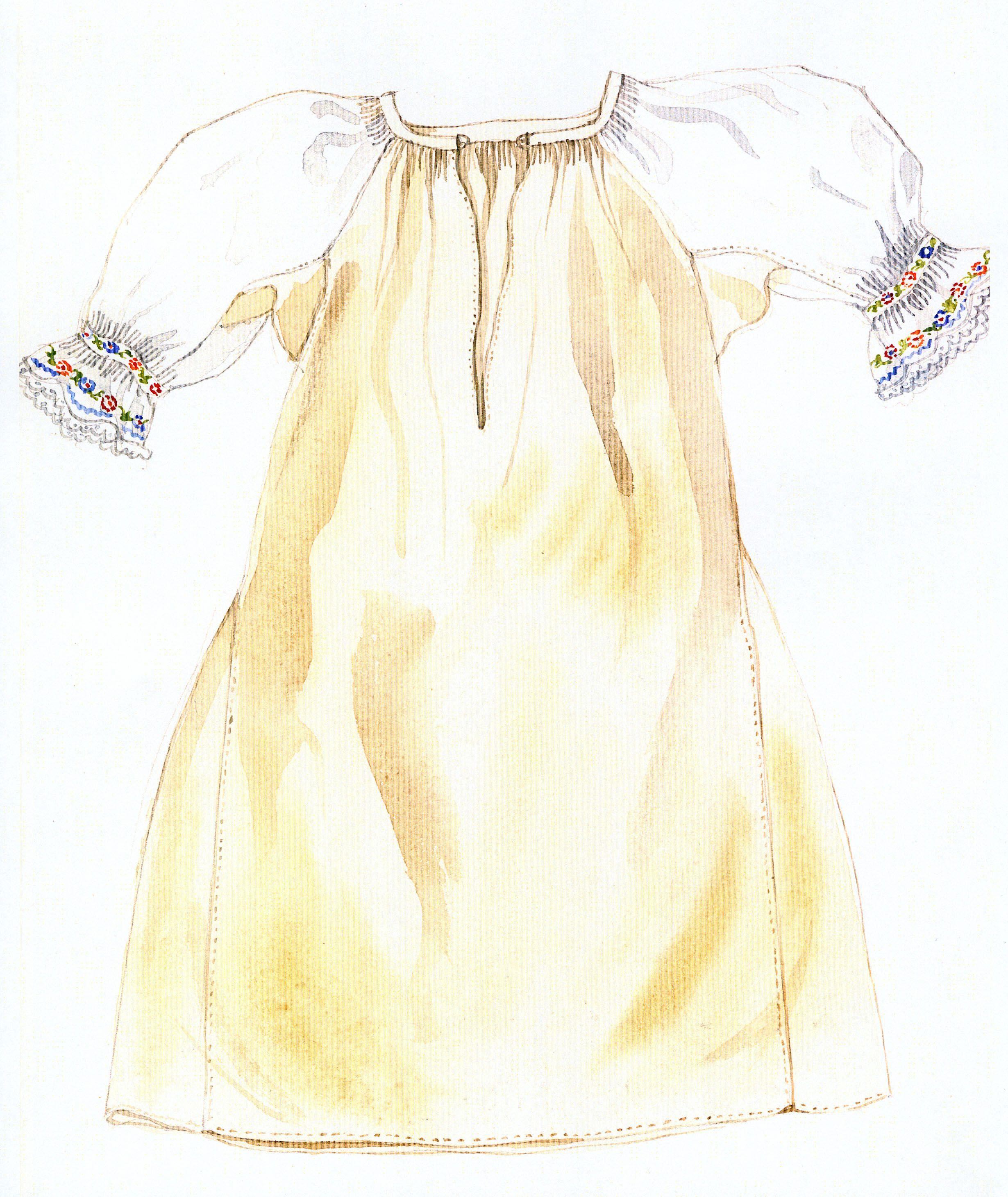 Ženská košeľa, Čierny Balog. Začiatok 20. storočia. Košeľa (handelská košeľa) je ušitá z domáceho ľanového plátna, len rukávy má z tenšieho bavlneného plátna. V bokoch je rozšírená dvomi veľkými klinmi. Obliekala sa ako prvá, siahala niže kolien a tvorila základ oblečenia žien, na ktorý sa obliekali ďalšie súčiastky. V priebehu prvej polovice 20. storočia sa menil materiál, z ktorého bola ušitá. Postupne sa ľanové plátno nahrádzalo poloľanovým a nakoniec bavlneným plátnom, z ktorého sa…
