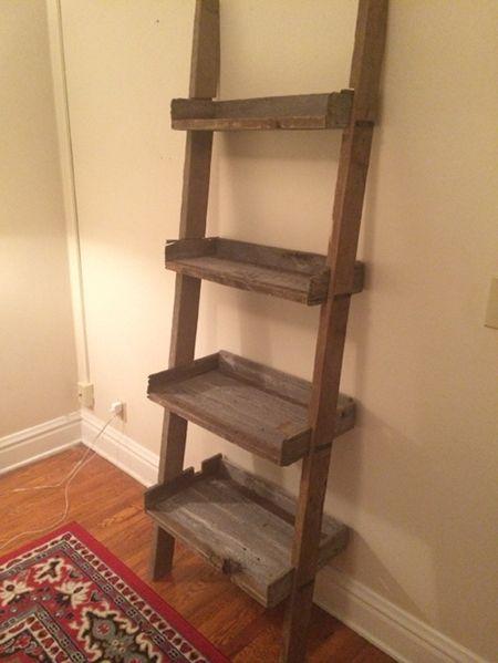 Reclaimed Wood Ladder Shelves
