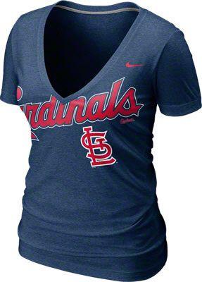 St. Louis Cardinals Women s Heathered Navy Nike Big Team Deep V-Neck T-Shirt 5a403fa5d