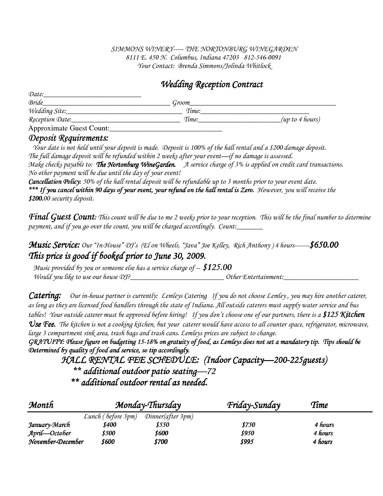 28 Wedding Venue Contract Template In 2020 Contract Template