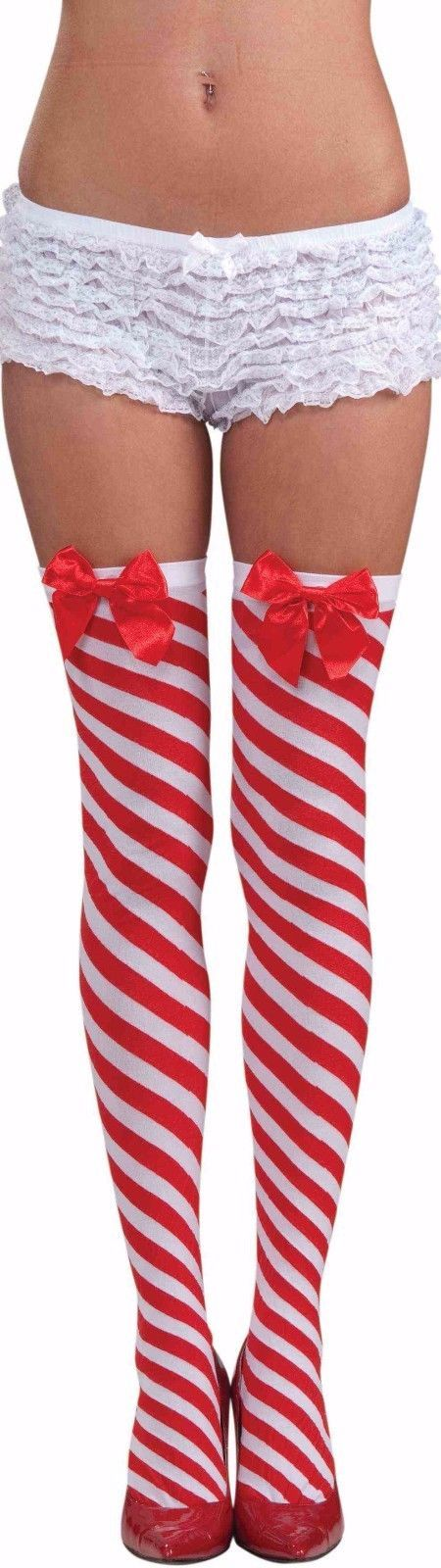ae5a2dea5e37c $10.41 - Candy Cane Striped Thigh High Stockings Bow Stripped Red White  Christmas Womens #ebay #Fashion