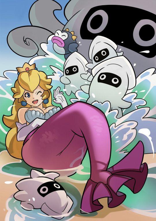 Princess Peach Mermaid | Super mario art, Mario art, Super