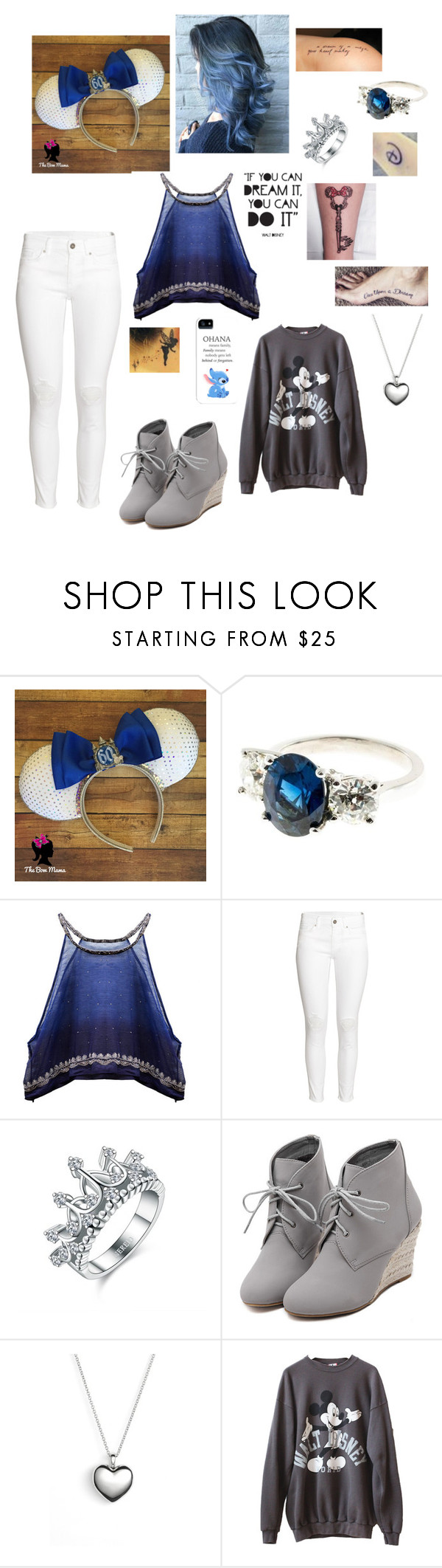 """Mickey Mouse Ears (60th Anniversary, Casual)"" by hannahc1133 ❤ liked on Polyvore featuring H&M, Disney, WithChic and Pandora"