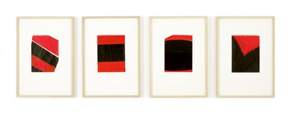 "antoniogonzalezart: "" Blinky Palermo 1-4 Tageszeiten, 1976. Acrylic on drawing paper mounted on cardboard in four (4) parts. 12 ¾ x 9 3/8 inches (drawing, each). 32.4 x 23.8 cm """